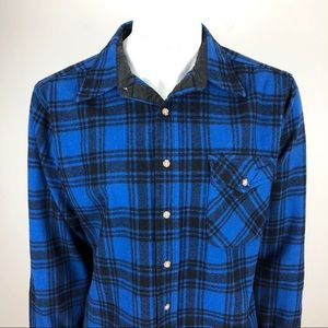 Pendleton Plaid 100% Wool Elbow Patch Shirt Large